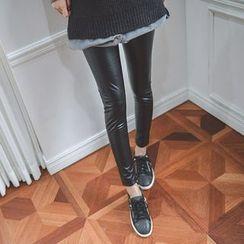 JUSTONE - Fleece Lined Faux-Leather Leggings