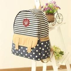 Canvas Love - Striped & Polka Dot Canvas Backpack