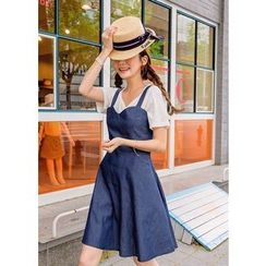 J-ANN - Denim A-Line Jumper Dress