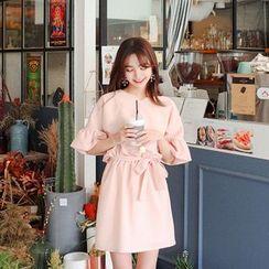 Cherryville - Ruffle-Sleeve Tie-Waist Mini Dress
