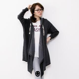 D.P-Shop - Open-Front Hooded Long Jacket