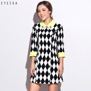 Othermix - Rhinestone-Collar Argyle Shift Dress