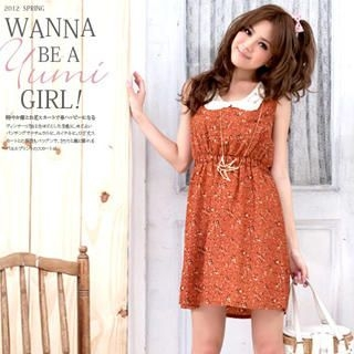 YUMI - Lace-Collar Sleeveless Floral Dress