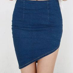 Isadora - Asymmetrical Hem Denim Skirt