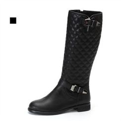 MODELSIS - Quilted Genuine Leather Boots