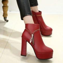 Yoflap - Platform Block Heel Short Boots