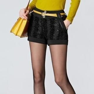 O.SA - Sequined Fleece-Panel Shorts