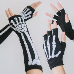 dollydelly - Skeleton Print Fingerless Gloves