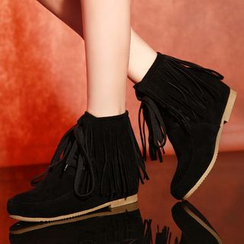 Shoes Galore - Fringed Lace-Up Short Boots