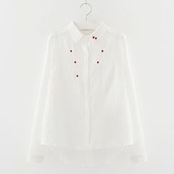 Meimei - Embroidered Heart Long-Sleeve Blouse