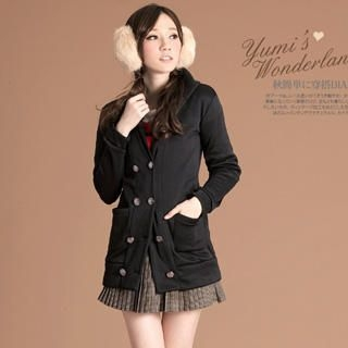 Double-Breasted Hooded Coat With Sash