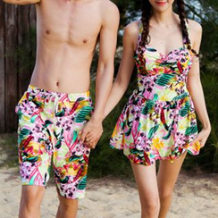 Roseate - Women Print Swimdress / Men Swim Trunks