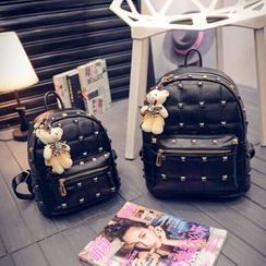 Crystal - Studded Mini Faux Leather Backpack