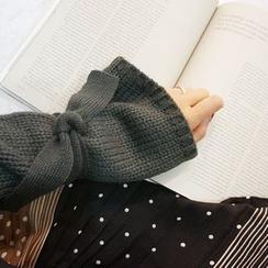 STYLEBYYAM - Tie Hem-Sleeve Round-Neck Knit Top