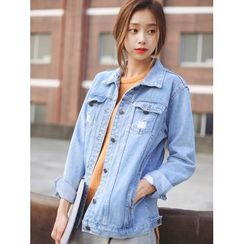 Sienne - Distressed Washed Denim Jacket