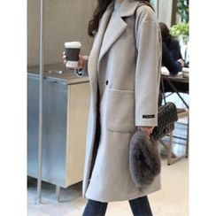 hellopeco - Notched-Lapel Wool Blend Coat