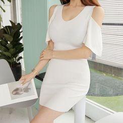 BONJOURLADY - V-Neck Cutaway-Shoulder Bodycon Dress