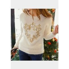 REDOPIN - Rib-Knit Embroidered Sweater
