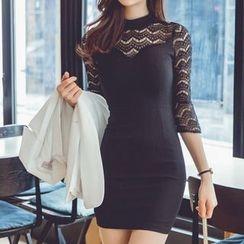 Fashion Street - Lace Panel 3/4 Sleeve Mini Dress