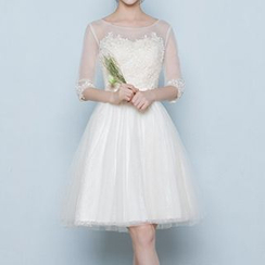Luxury Style - Elbow Sleeve Mini Prom Dress