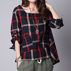 Supernova - Plaid Square-neck Linen-blend Top