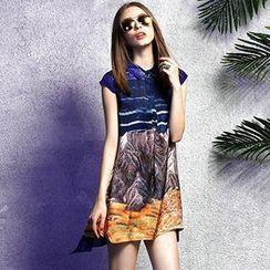 洛圖 - 短袖印花連衣裙