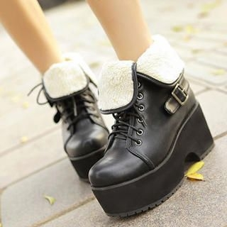 Mancienne - Fold-Over Buckled Platform Ankle Boots