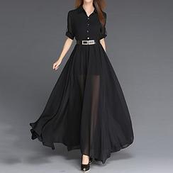 丽贝卡 - 纯色衬衫长裙