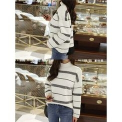 hellopeco - Mock-Neck Drop-Shoulder Knit Top