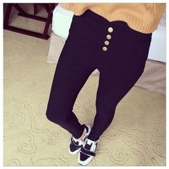 Hyoty - 飾鈕釦窄身褲