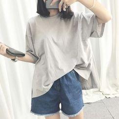 YOSH - Plain Elbow-Sleeve T-Shirt