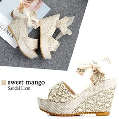 SWEET MANGO - Platform Ribbon Lace Wedge-Heel Sandals