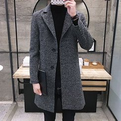 LIBIN - Notch Lapel Long Woolen Coat