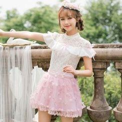 Candy Rain - Lace Panel Short-Sleeve Minidress