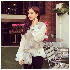 Ashlee - 套裝: 長袖蕾絲上衣 + 羊毛馬甲