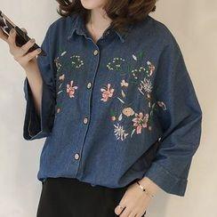 Little V - Floral Embroidered Long-Sleeve Shirt
