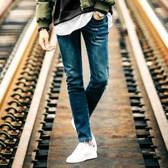 MEOSIDDA - Faux-Fur Lined Slim-Fit Jeans