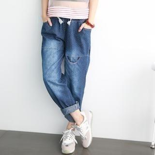 rico - Dotted Drawstring Boyfriend Jeans