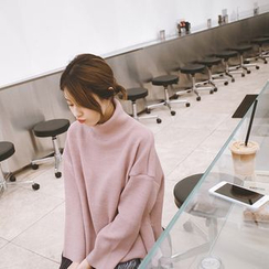 mimi&didi - Mock-Neck Dip-Back Knit Top