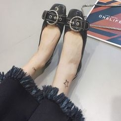 Crystella - Buckled Patent Flats