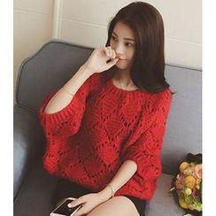 Dream Girl - Crochet Batwing Knit Top