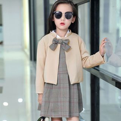 Famula - Set: Kids Bow-Accent Jacket + Plaid Dress