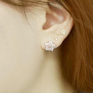 soo n soo - Rhinestone Flower Earrings