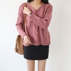 Seoul Fashion - V-Neck Cable-Knit Sweater