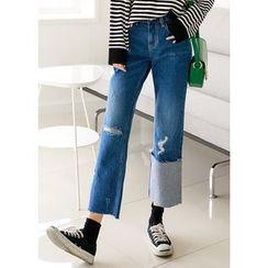 J-ANN - Cuff-Detail Distressed Wide-Leg Jeans