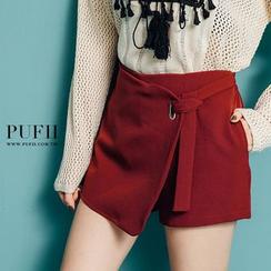 PUFII - 不规则绑结裤裙