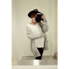 Momnuri - Maternity Open-Front Cable-Knit Cardigan