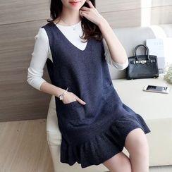 Ageha - Set: Plain Long Sleeve Top + Ruffle Hem Knit Tank Dress