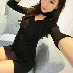Neon Nite - Plain 3/4 Sleeve V-Neck Mini Knit Dress