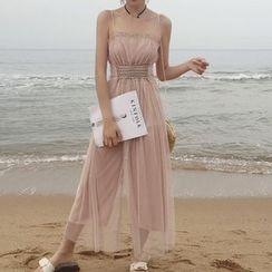 AMELA - 繫帶網紗外罩細肩帶寬腿連衣褲